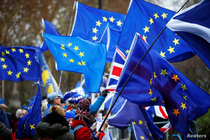 Anti-Brexit demonstrators wave flags outside the Houses of Parliament in London, Britain, Dec. 10, 2018.