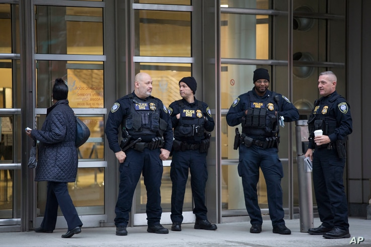 "The Department of Homeland Security has personnel in place in front of the Brooklyn Federal Courthouse for the start of jury selection in the trial of Joaquin ""El Chapo"" Guzman, Nov. 5, 2018, in New York."