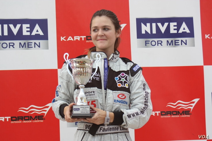 Fabienne Lanz on the winner's podium in Dubai, a few years ago. (Courtesy Fabienne Lanz's collection)