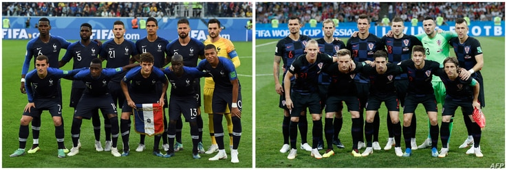 A combination of file pictures shows France's squad (L) in Saint Petersburg on July 10, 2018 and Croatia's squad in Sochi on July 7, 2018 during the Russia 2018 World Cup football tournament.