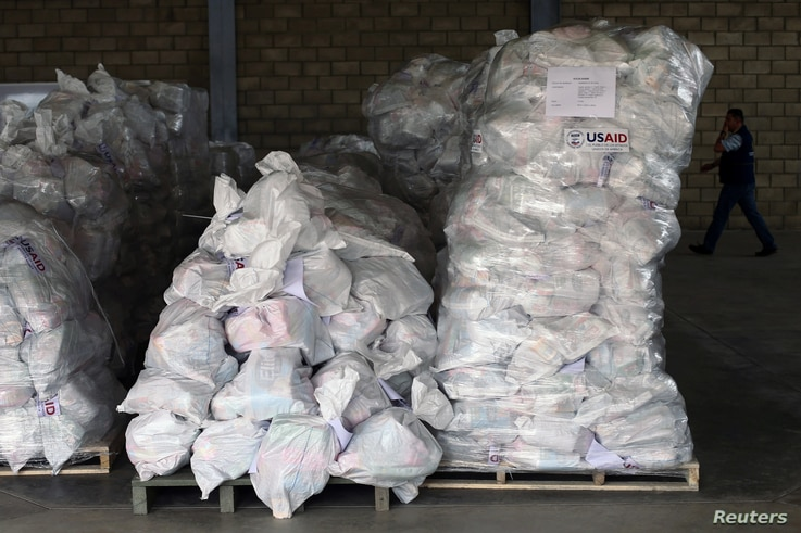 Sacks containing humanitarian aid are pictured at a warehouse near the Tienditas cross-border bridge between Colombia and Venezuela in Cucuta, Colombia, Feb. 14, 2019.