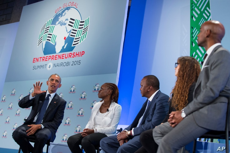 President Barack Obama, left, takes part in a panel discussion at the Global Entrepreneurship Summit at the United Nations Compound.July 25, 2015, in Nairobi.