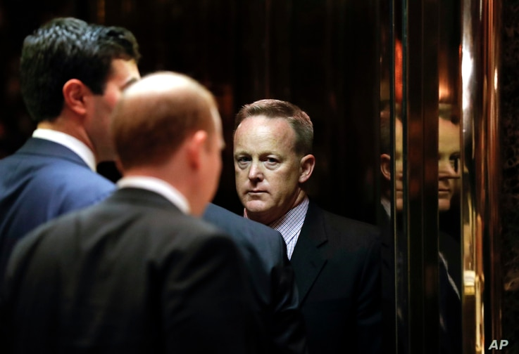 Sean Spicer, Republican National Committee communications director and chief strategist, he arrives at Trump Tower, Nov. 16, 2016, in New York.
