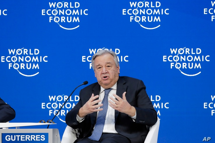 Antonio Guterres, Secretary-General of United Nations addresses the annual meeting of the World Economic Forum in Davos, Switzerland, Jan. 24, 2019.