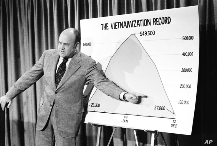 Defense Secretary Melvin R. Laird points to a chart showing the administration's Vietnamization record during a news conference, Oct. 11, 1972, in Washington.