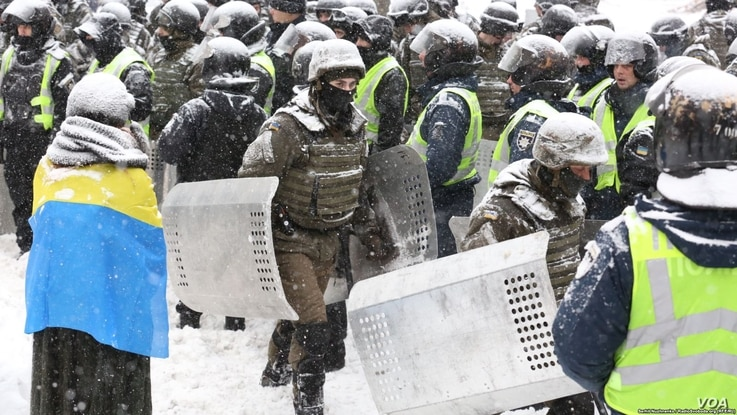 Police in Kyiv moved in to dismantle a protest camp near the national parliament building, detaining some 100 protesters amid clashes, Kyiv, Ukraine, March 3, 2018.