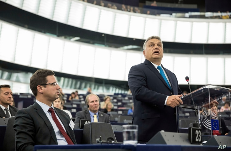 Hungary's Prime Minister Viktor Orban addresses the European Parliament in Strasbourg, France, Sept.11, 2018.