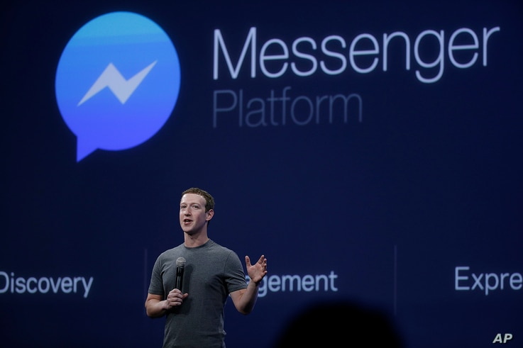 FILE - CEO Mark Zuckerberg talks about the Messenger app during a Facebook developer conference March 25, 2015, in San Francisco, California.