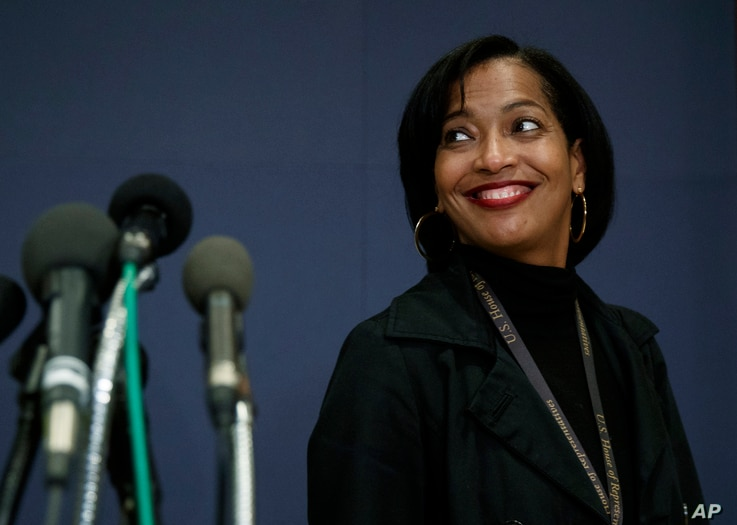 Rep.-elect Jahana Hayes, D-Conn., walks from media microphones after member-elect briefings on Capitol Hill in Washington,  Nov. 15, 2018.