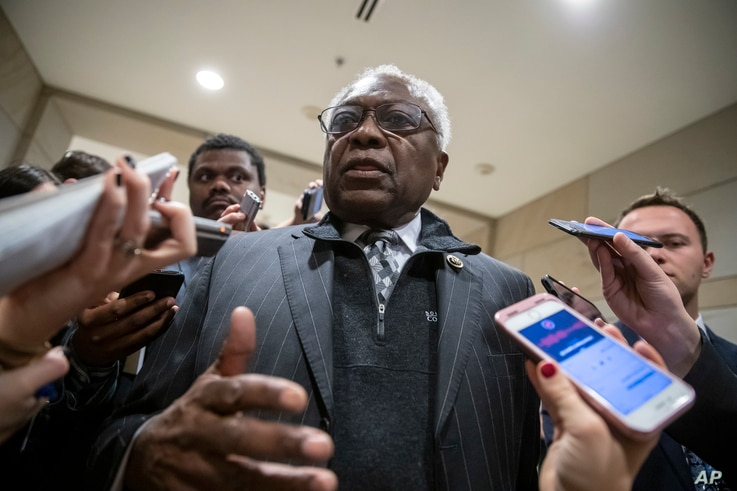 FILE - Rep. Jim Clyburn, D-S.C., arrives at the Capitol in Washington, Nov. 28, 2018.