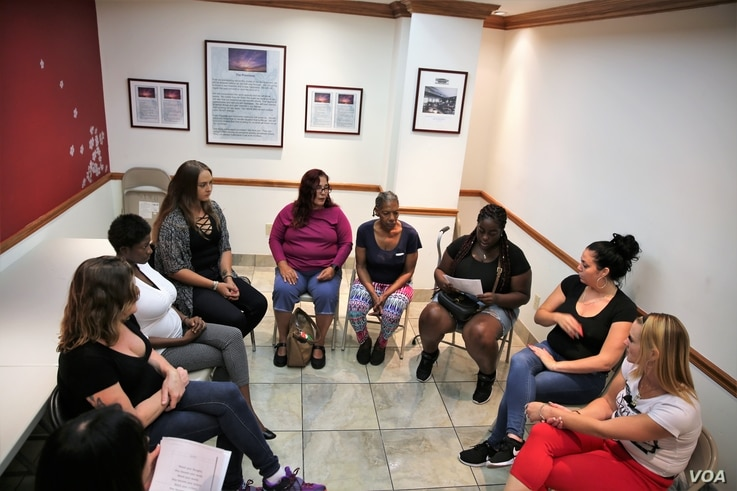 Women participate in a counseling session for opioid substance abuse and trauma at The Village South, a community based substance abuse and mental health care facility, in Miami
