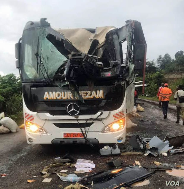 A damaged bus in Akum, Sept. 9, 2018.