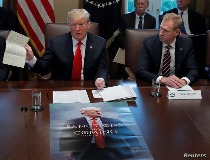 U.S. President Donald Trump (L) and Acting U.S. Defense Secretary Patrick Shanahan are seen during a Cabinet meeting at the White House in Washington, Jan. 2, 2019.