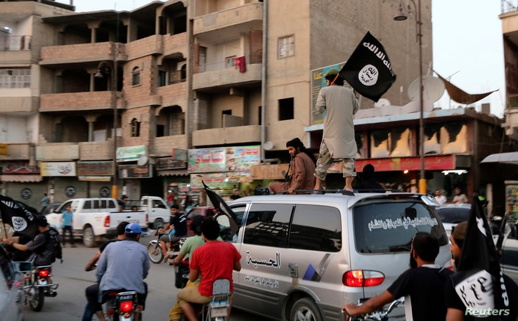 Members of the Islamic State in Iraq and the Levant wave ISIL flags as they drive around Raqqa, Iraq, June 29, 2014.