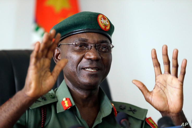 Major General John Enenche speaks during a press conference at the defense headquarters in Abuja, Nigeria, May 18, 2017.