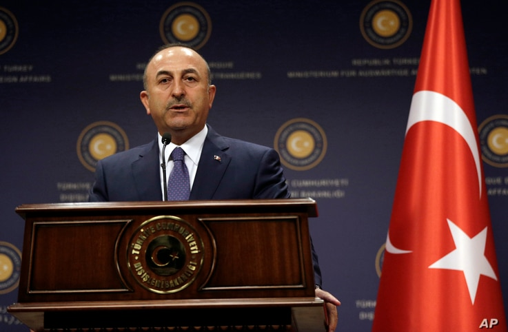 Turkey's Foreign Minister Mevlut Cavusoglu speaks during a news conference with German Foreign Minister Sigmar Gabriel in Ankara, Turkey, June 5, 2017.