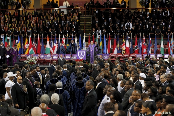 Ministers arrive for the funeral services for the Reverend Clementa Pinckney in Charleston, S.C., June 26, 2015.