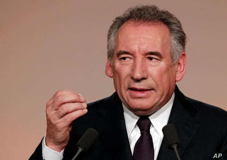 French centrist politician Francois Bayrou delivers his speech in Paris, Feb. 22, 2017.