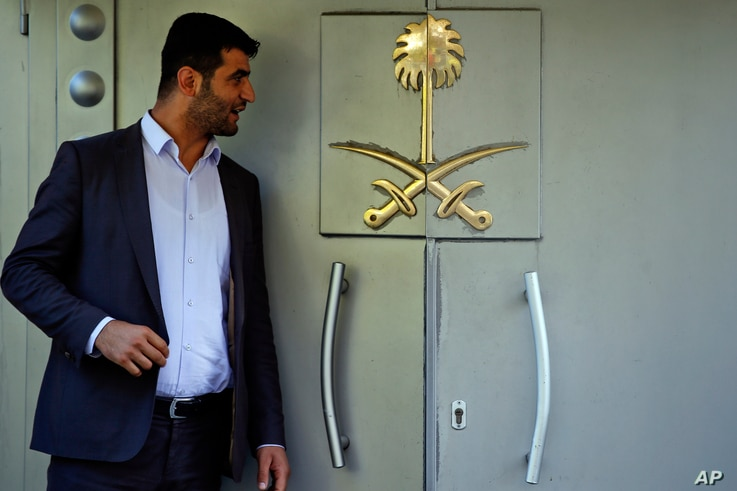 "Officials leave Saudi Arabia consulate in Istanbul, Oct. 7, 2018. A friend of a Saudi journalist who went missing in Istanbul says officials told him to ""make your funeral preparations"" as the Washington Post contributor ""was killed"" at the Saudi Con..."