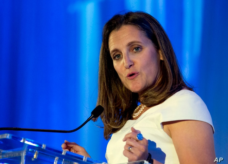 FILE - Canadian Minister of Foreign Affairs Chrystia Freeland speaks after receiving the Foreign Policy's Diplomat of the Year 2018 award.