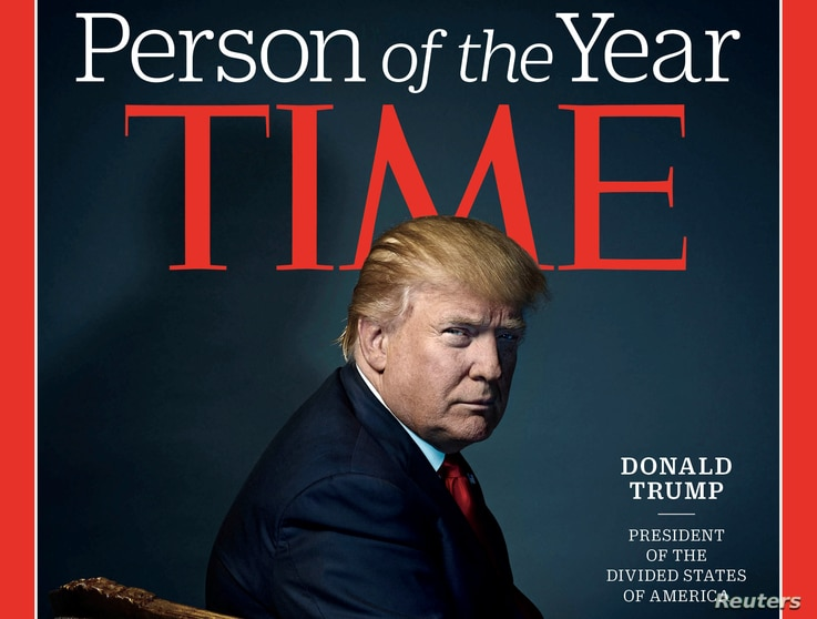 "U.S. President-elect Donald Trump appears on the cover of Time Magazine after being named its person of the year. Trump questioned claims that Russia interfered in the U.S. elections via cyber warfare. ""I don't believe they interfered,"" Trump told Ti..."