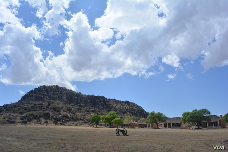 A lone cannon sits on the old parade ground at Fort Davis, Texas.