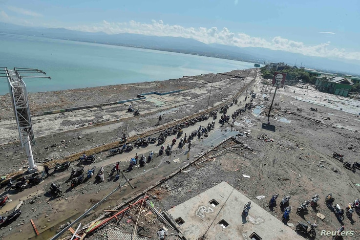 A general view of Taman Ria's beach, which was hit by a tsunami after a quake in West Palu, Central Sulawesi, Indonesia, Sept. 30, 2018.
