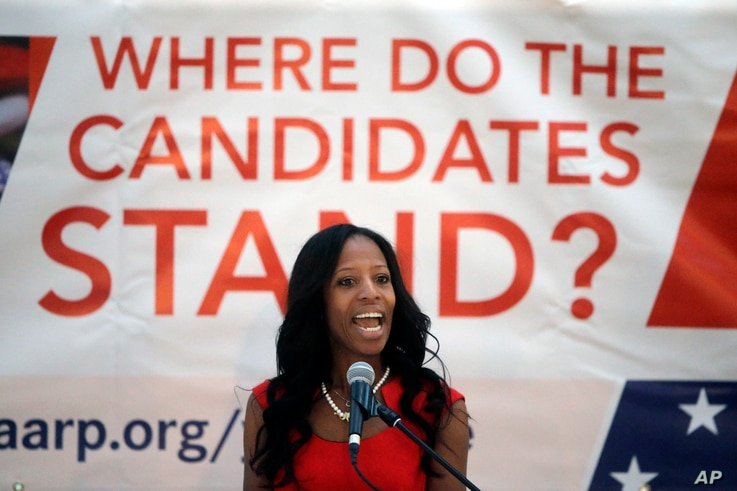 FILE - Congresswoman Mia Love, a Republican from Utah, who is running against Democrat Doug Owens for Utah's 4th Congressional District, speaks in Salt Lake City, Utah, Aug. 31, 2016.