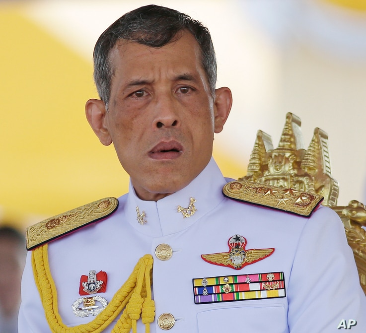 FILE - Thailand's Crown Prince Vajiralongkorn is seated at the royal plowing ceremony in Bangkok.