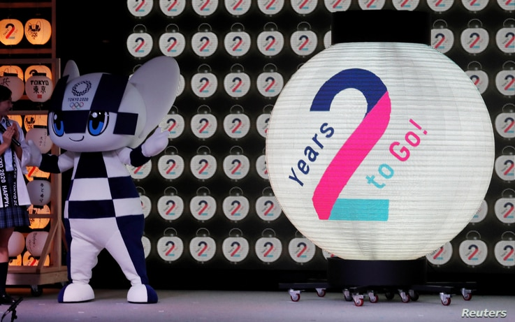 Tokyo 2020 Olympic Games mascot Miraitowa attends a countdown event to mark two years until the Tokyo 2020 Summer Olympics at the Tokyo Skytree Town in Tokyo, Japan, July 24, 2018.