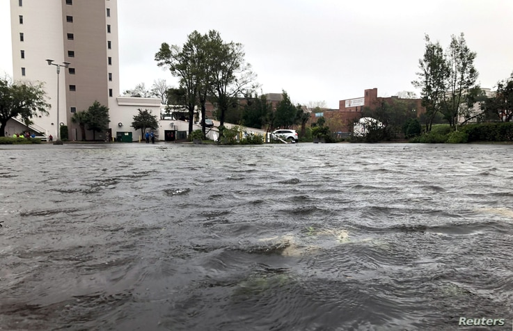 Fooded streets are pictured as Hurricane Florence moves into the Carolinas in Wilmington, North Carolina, U.S., Sept.14, 2018.