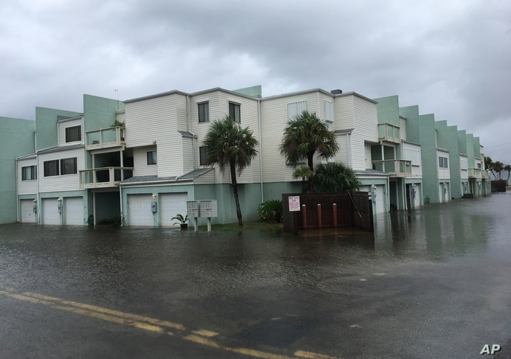 Floodwaters surround a condo in the aftermath of Tropical Storm Nate in Pensacola Beach, Florida, Oct. 8, 2017.