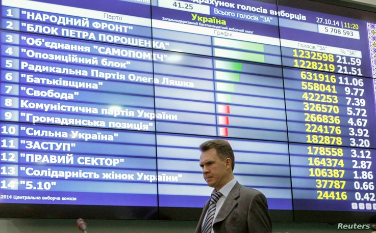 Mykhaylo Okhendovsky, head of the Ukrainian Central Election Commission, walks past a screen displaying the partial results of the parliamentary election at the commission's headquarters in Kyiv, Oct. 27, 2014.