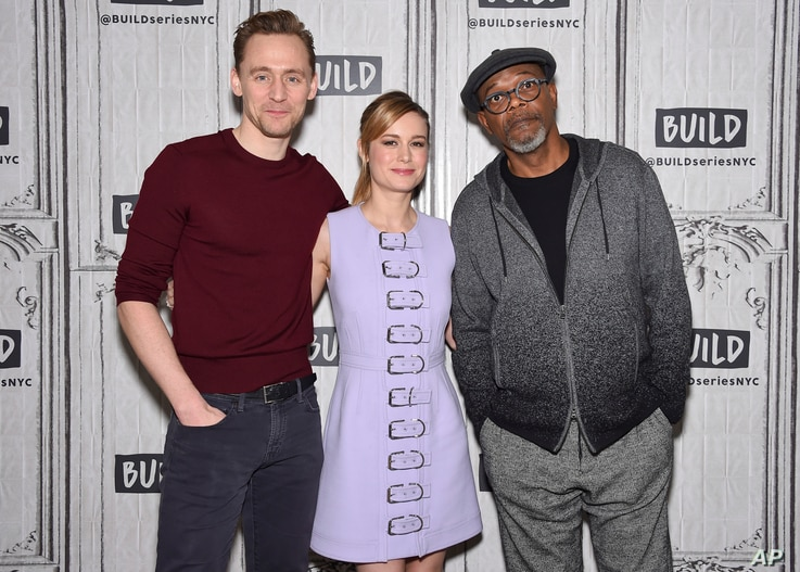 "Actors Tom Hiddleston, left, Brie Larson and Samuel L. Jackson participate in the BUILD Speaker Series to discuss the film ""Kong: Skull Island"" at AOL Studios, March 6, 2017, in New York."