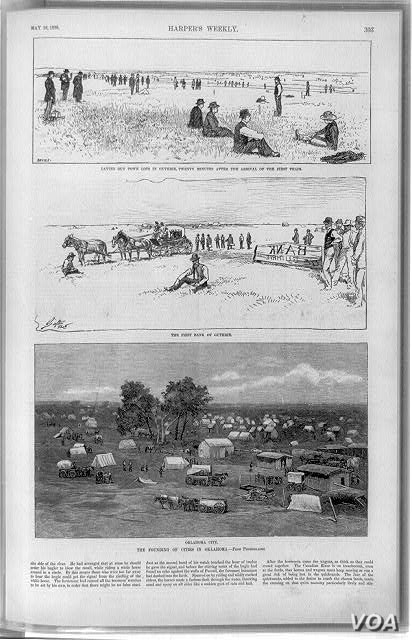 """This page from a """"Harper's Weekly"""" edition in 1893 shows another portion of Oklahoma, soon after settlement. The tents in the bottom panel turned into the first structures in what is now the state's capital, Oklahoma City. (Library of Congres..."""