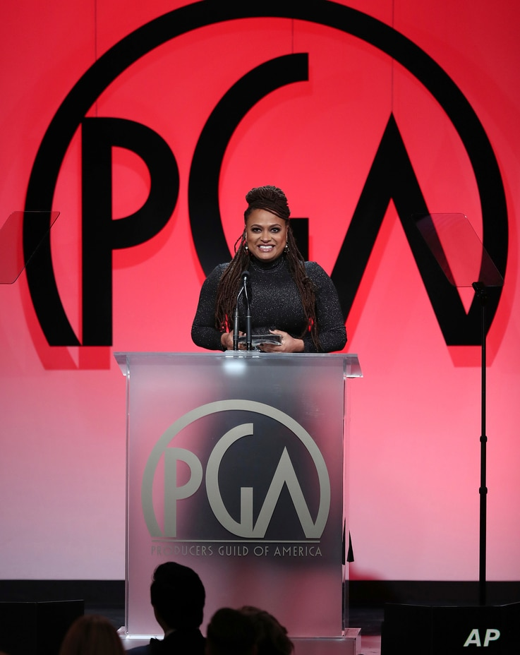 Ava DuVernay accepts the Visionary award at the 29th Producers Guild Awards at Beverly Hilton, Jan. 20, 2018, in Beverly Hills, Calif.