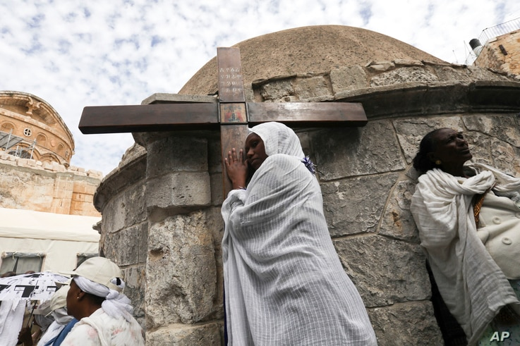 Ethiopian Christian pilgrims attend Good Friday procession in Jerusalem, April 14, 2017.