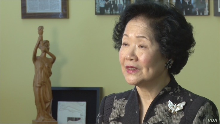 Anson Chan, former Hong Kong Chief Secretary and former lawmaker, speaking to VOA at the National Endowment for Democracy in Washington, April 2, 2014.