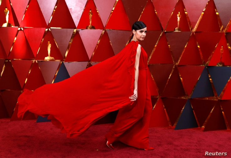 Sofia Carson arrives at the 90th Academy Awards in Hollywood, California, March 4, 2018.