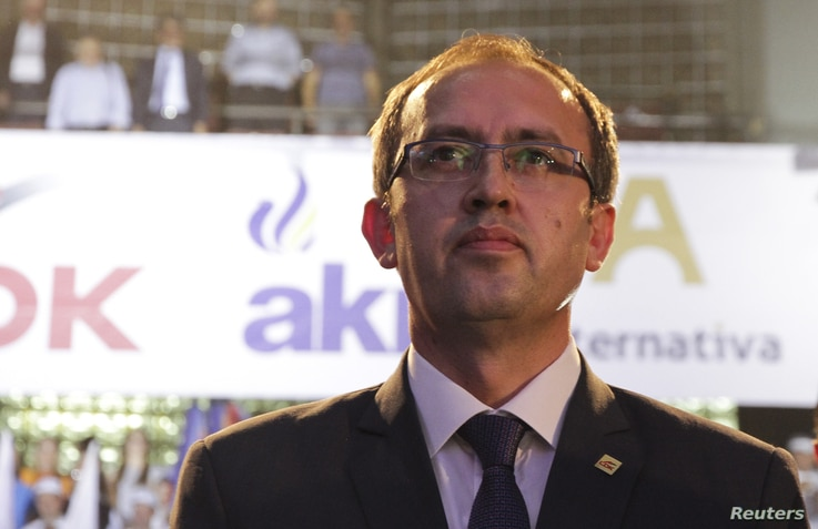 Avdullah Hoti, a candidate for prime minister from the coalition of Democratic League of Kosovo (LDK), Alliance for the New Kosovo (AKR) and Alternativa, during an election rally in Pristina, Kosovo, June 9, 2017.