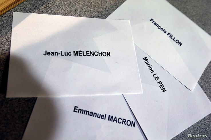 Names of 2017 French presidential election candidates are printed during the first round of 2017 French presidential election in Paris, France, April 23, 2017.