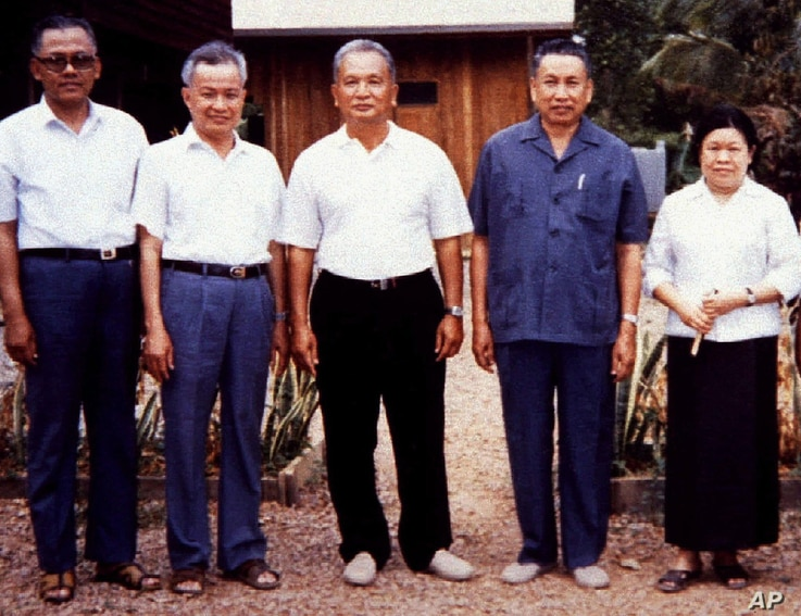 Pol Pot (2nd R), notorious leader of Cambodia's Khmer Rouge, is shown in a rare photograph with other Khmer Rouge leaders at a camp in Western Cambodia in January, 1986.