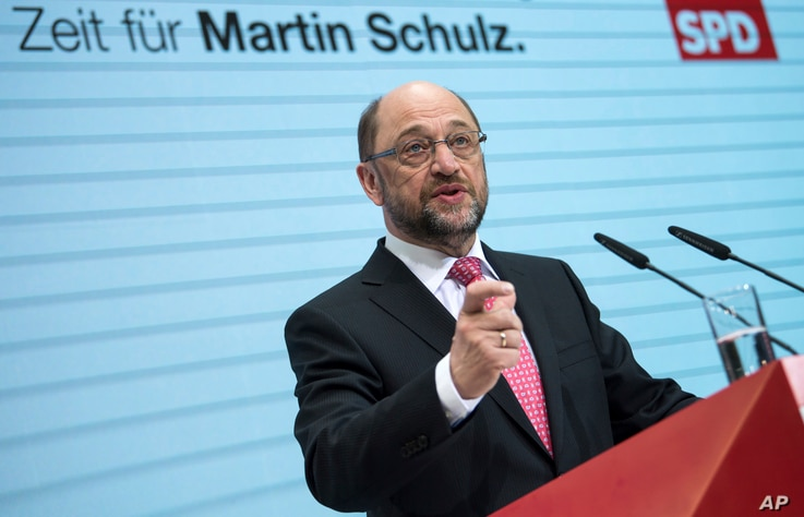 Candidate of the German Social Democrats, SPD, for the upcoming elections and former president of the European Parliament Martin Schulz speaks during a news conference at the party's headquarters in Berlin, Germany, Jan. 30, 2017.