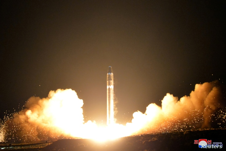 A view of the newly developed intercontinental ballistic rocket Hwasong-15's test that was successfully launched is seen in this undated photo released by North Korea's Korean Central News Agency (KCNA) in Pyongyang, Nov. 30, 2017.
