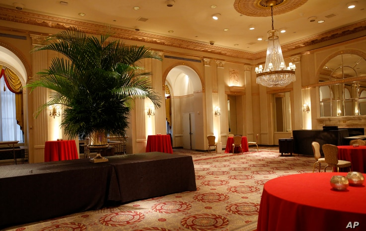 A small event room is shown inside the renowned Waldorf Astoria hotel in New York, Feb. 28, 2017. The Waldorf Astoria's history dates to 1893, but its original home was torn down to make way for the Empire State Building.