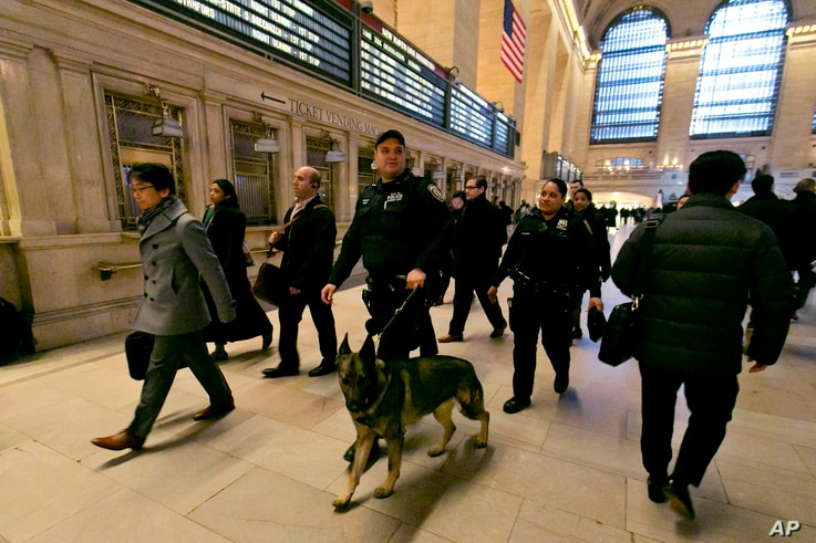 Metro-North Railroad police officers patrol Grand Central Terminal, in New York, March 22, 2016.