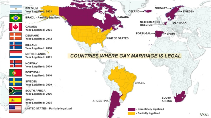 Countries where gay marriage is legal