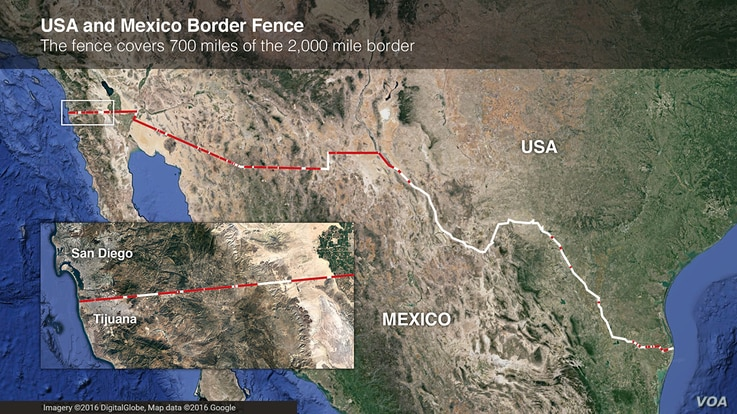 Map of US-Mexico border fence