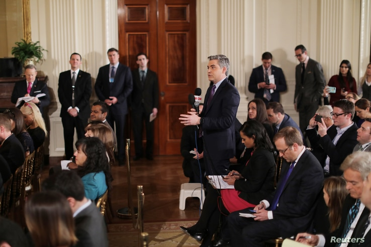 CNN reporter Jim Acosta asks a question during a news conference held by U.S. President Donald Trump at the White House in Washington, Feb. 16, 2017.