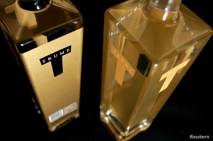 FILE - Bottles from a new line of premium vodka affiliated with Donald Trump and bearing the name Trump Super Premium Vodka in New York City, Oct. 6, 2006.